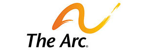 This orange yellow almost A swoosh like symbol is the logo for the Arc of Indiana